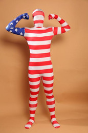 Usa Suits Canada - DHL American USA Team Flag Zentai Second Skin Suit Fancy Dress Costume Spandex Lycra