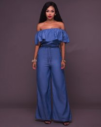 Barato Manga Longa Denim-Womens Jeans Rompers Mulheres Jumpsuit Denim Long Pants Overalls 2017 Off Shoulder Autumn Winter Club Wear Bodysuit Romper Long Pant Overalls