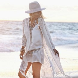 beach shawl sleeves 2019 - Wholesale- Summer Bohemia Long Cardigan Women White Hollow Out Flowers Lace Shawl Sunscreen Beach Female Tassel Outwear
