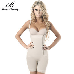 Ceinture Minceur Pour Femmes En Gros Pas Cher-Wholesale- Lover Beauty Black Zipper Side Vest Body Shaper Tummy Girdle Control Underbust Shapewear Femmes Slimming Underwear Bodysuit Fajas
