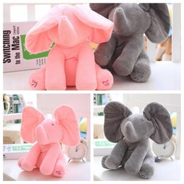 Chinese  Plush Elephant Dog Doll Toy Play Educational Music Hide And Seek Baby Elephant Toy Ears Flaping Move Hide Seek elephant toy 30cm KKA2496 manufacturers