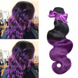 cheap ombre purple hair weave NZ - Purple Ombre Malaysian Hair Extension Cheap 3 Bundles Human Hair Body Wave Remy Ombre Purple Virgin Cherry Hair Weave For Sale