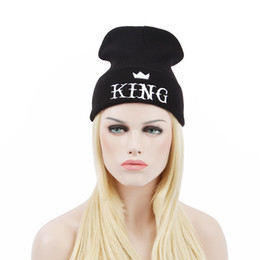 men king hat 2019 - KING Beanies hats autumn winter warm knitted woolen hat fashion hip hop hat cap outdoor outdoor cold hat ski cap autumn