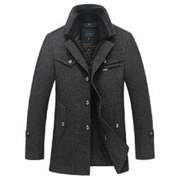 Discount Mens Grey Wool Single Breasted Coat | 2017 Mens Grey Wool ...