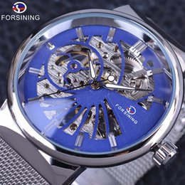 Steel Display Case Canada - Forsining Classic Blue Dial Display Silver Stainless Steel Transparent Case Mens Skeleton Watches Top Brand Luxury Mechanical