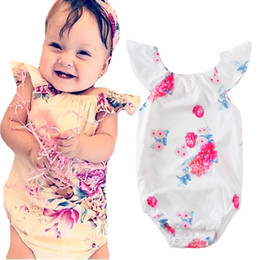 Barato Roupas Infantis Jumpsuit-Baby Girl Rompers 2017 Summer Brand Moda Floral Fiy Sleeve Kids Infant Romper Girls Clothes Flower Newborn One Pieces Jumpsuit Outfits