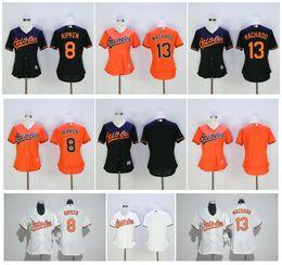 742abdb3973 ... Jerseys Women Baltimore Orioles 13 Manny Machado Jersey 8 Cal Ripken  Blank Black White Orange Stitched Ladies