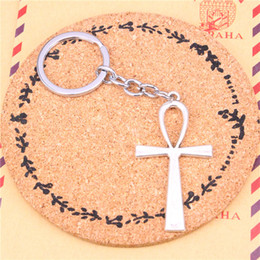 $enCountryForm.capitalKeyWord Australia - Keychain cross egyptian ankh life symbol Pendants DIY Men Jewelry Car Key Chain Ring Holder Souvenir For Gift