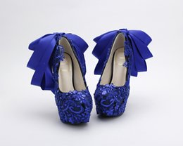 $enCountryForm.capitalKeyWord UK - Royal Blue Lace Cinderella Shoes with Ribbon Bow Bridal 2017 Bridesmaid Wedding Shoes Prom Evening Night Club Party High Heels Hand-made