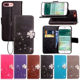 shining leather bags NZ - Wallet Diamond Phone Case for iPhone 6 7 Plus 5C 5S 5SE Clover PU Leather TPU Case Bling Shine Glitter Flip Cover Kickstand Bag Card Slots