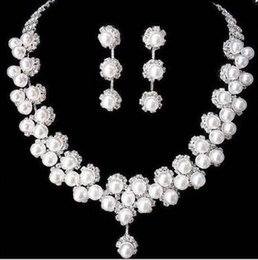 $enCountryForm.capitalKeyWord Australia - Pearl Wedding Jewelry Bridal Studs Earring Necklace Set Silver Plated Rhinestone Pearl Necklace and Earrings Jewelry Set