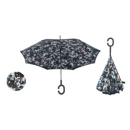 Discount umbrella lighted handle - Double Layer with C Handle Inverted Umbrella Sunny and Rainy Umbrella Inside Out Reverse Windproof Umbrella