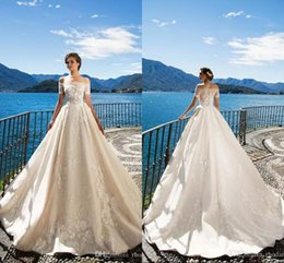 ElEgant floral EmbroidEry online shopping - Milla Nova Off the Shoulder Elegant Wedding Dresses Short Sleeves Lace Appliqued Bridal Gowns Long Sweep Train Wedding Gowns Luxury