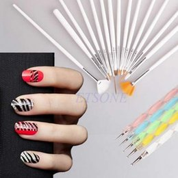 Pinceaux À Dessin En Gros Pas Cher-Vente en gros - Hot Sale 15Pc Nail Art Design Brushes + 5Pc Dotting Painting Drawing Polish Pen Kit Outils