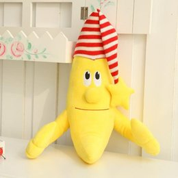 Gorra De Bebé De Juguetes Baratos-Al por mayor- Nooer Cartoon Kawaii Nueva Plush Stuffed Banana Man Wear Cap Toy Soft Safe Baby Sleep Pillow Felpa Muñecas de plátano para niños Niños