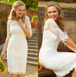Short Sexy Weddings Dresses Canada - Sheath Column Knee-length Lace Wedding Dress With Jewel Neck 3 4 Sleeve Garden Country Vintage Sexy Short Cheap Sexy Bridal Dress