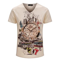 China New Vintage Short V-neck 3D Printed T-shirt Men Brand Cotton Mens T Shirt Plus Size 3XL Fashion Clothing cheap vintage mens shirts suppliers