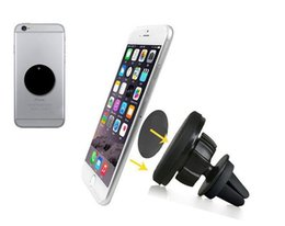 Wholesale Universal Magnetic Car Air Vent Mount No Damage Sticky Stand Mobile Phone Holder For iPhone Plus Samsung S6 LG Huawei GPS
