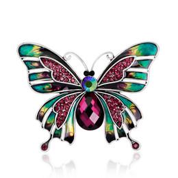 $enCountryForm.capitalKeyWord UK - Elegant Epoxy Enamel Butterfly Brooches Vintage Alloy Amethyst Crystal Rhinestone Animal Brooch Pins Dresses Corsage Brooches Party Jewelry
