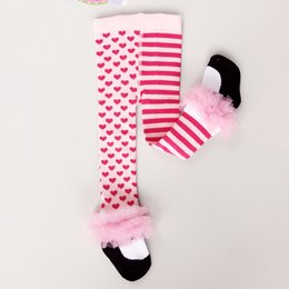 Barato Calças Grossas De Calcinha De Renda-2017 Outono Inverno Baby Girls Leggings Coração de listrado Jacquard Calcinha Calcinha Princesa Leggings Baby Midings Kids Tights Pants Wholesale 161