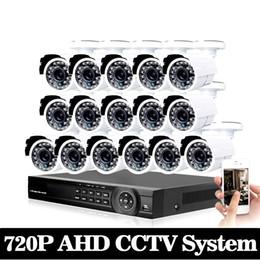16ch Camera Canada - 16ch AHD CCTV System 1.0MP 2000tvl DVR Kit 16CH Full AHD 720P 960h DVR 16pcs 720p CCTV Cameras PC&Mobile View Plug And Play