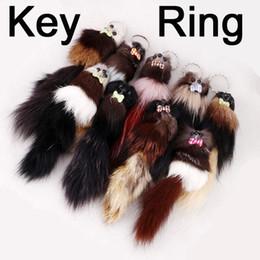 "Chinese  Pom Pom Car Keychain Handbag Key Ring Girl Children Gift FBA Drop Shipping7.87""*1.97"" Adorable Fox Fur 3D Squirrel C97Q manufacturers"