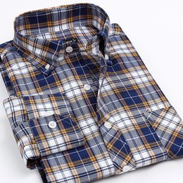 Mens Oxford Shirts Yellow Canada - New Arrival Oxford Non-Iron Men's Brand Business Casual Clothes Mens Long Sleeve Dress Plaid Striped Formal Shirts For Men