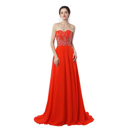Chinese  2019 New Real Photo Sexy Sweetheart Long Prom Dresses Off The Shoulder Chiffon With Beading Red A-Line Evening Dress Hot Sale manufacturers