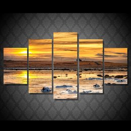 Life Houses Canada - 5 Pcs Set Framed HD Printed Sunset House Grassland Landscape Picutre Print Wall Art Living Room Decor Poster Canvas Painting