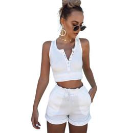 $enCountryForm.capitalKeyWord Canada - 2017 Summer 95% Cotton Women Set Two Piece Set Top And Pants Colorful Button crop top moletom feminino ensemble drawstring 1560