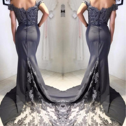 $enCountryForm.capitalKeyWord Australia - 2017 Grey Mermaid Evening Dresses Elegant Vestido De Festa Appliqued Satin Lace Off The Shoulder Party Gowns Cheap Bridesmaid Dresses