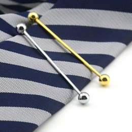 Brass Needles Australia - Tie Clasp Bar Collar Pin Copper Pin Men's Suits Plated Needle Collar Long Clip for Wedding