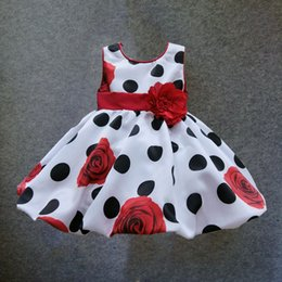 Wholesale M T baby girls dress Black Dot Red Bow infant summer dress for birthday party sleeveless princess floral vestido infantil