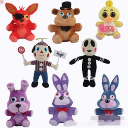 Discount movie night gift - 8 Styles 25~30cm FNAF Five Nights At Freddy Fazbear Foxy Bonnie Chica Soft Toys Kids Birthday Gifts CCA7566 60pcs