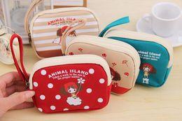 Wholesale Wrist Zipper Wallet Australia - Wholesale- Kawaii 4Designs Animal Islands Girls - 13*9CM Little Canvas Wrist Coin BAG , Mini Hand BAG , Pocket Coin Purse & KEY Wallet