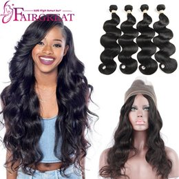 Wholesale Body Wave And Straight Human Hair Products With Frontal Bundles Brazilian Virgin Hair Extensions Natural b black color price