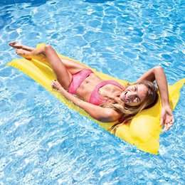 water floating beds 2018 - Random Color Inflatable Pool Float Swimming Floating Bed Water Hammock Recreation Beach Mat Mattress Lounge Bed Chair Po