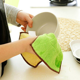 wholesale cotton rags NZ - 300pcs High Efficient Anti-grease Color Dish Cloth Microfiber Washing Towel Magic Kitchen Cleaning Wiping Rags Wholesale