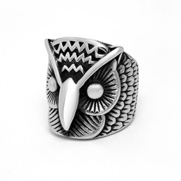 Chinese  Hot Sale Domineering Retro Stainless Steel Owl Ring Party Jewelry Gift Plus Size 7 8 9 10 11 12 13 14 Mix Order manufacturers