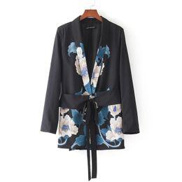 Chinese  Wholesale- 2018 Women Fashion Vintage Retro Floral Print Kimono Suit jacket Brand waist sashes Outwear business wear Coat Tops CT008 manufacturers