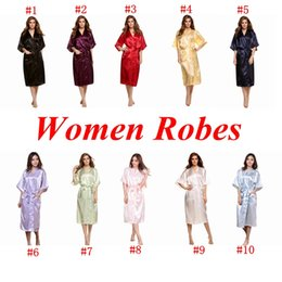 Vêtements De Nuit Kimono Pour Femmes Pas Cher-Women Silk Rayon Kimono Peignoir Satin Long Robe Night Gown Solid Bridesmaid Pyjamas Pyjamas 10 Couleurs 60pcs OOA1912