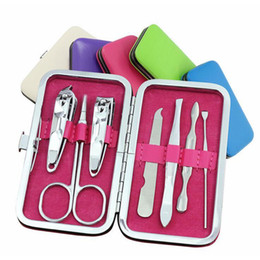 Barato Prego Clipper Conjuntos Atacado-Nail Clippers Set Mini Manicure 7pcs / set Ferramentas Nails Cuticle Grooming Kit Case Maquiagem Acessórios Mini Manicure Kit Atacado 0057-10MU
