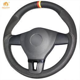 Passat Steering Wheel Canada - Mewant Black Suede Black Genuine Leather Steering Wheel Cover for Volkswagen VW Tiguan Lavida Passat B7