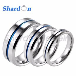 Unisex Engagement Rings Canada - Shardon 4mm Beveled Tungsten Carbide Wedding Band Ring High Polished Blue Line Ring Engagement Wedding Band