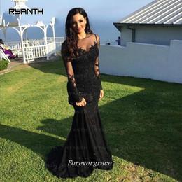 Attraente nero maniche lunghe Prom Dress Mermaid Sheer Neck Women Wear Occasioni speciali Vestito formale da laurea Plus Size in Offerta