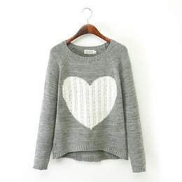 Ladies Stylish Sweater Canada - Brand Pullover Women Sweaters Elegant Heart Pattern Pullover O-neck Long Sleeve Knitwear Stylish Ladies Knitted Sweater SW010