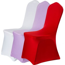 White Banquet Chairs UK - 12 Colors Spandex Chair Covers White Lycra Chair Cover for Wedding Party Hotel Home Decoration Fedex Free Shipping