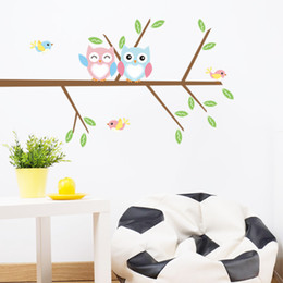 $enCountryForm.capitalKeyWord NZ - DIY Cartoon Cute Owls On The Branches Tree Wall Stickers PVC Removable Home Bedroom Background Decorations Wall Decals Murals