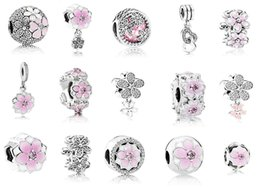 Подходит Pandora стерлингового серебра 925 браслет розовый эмаль Магнолия Кристалл мотаться бусины подвески для Европейский змея Шарм цепи мода DIY Jewelr