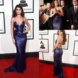 Discount selena gomez champagne evening prom dress Selena Gomez Spaghetti Strap Sequins Celebrity Evening Dresses Cutaway Sides Mermaid Prom Gowns Sweep Train 58th Grammys